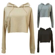 Women's Crop Tops Long Sleeve Sweatshirt Hoodies Jumper Sweater Sports Tee Shirt