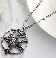 Silver Pentagram Goats Head Skull Pendant Necklace Pan Freemasons Wiccans Cross