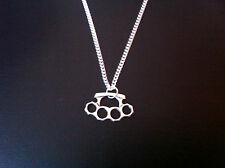 "KNUCKLE DUSTER CHARM NECKLACE 18"" SILVER CHAIN IN GIFT BAG ( BUY 2 GET 1 FREE )"