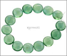 14 Green Fluorite Coin Flat Round Beads 14mm #85360