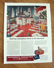 1952 Armstrong's Asphalt Tile Floors Ad Roof-Top Atmosphere down in the Basement