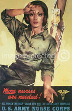 More Nurses Needed WW2 US Vintage Propaganda Poster 18x24