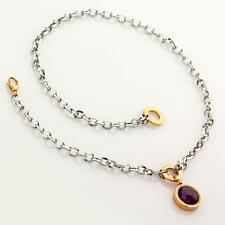 New Rebecca 2.77ctw Hydro Amethyst Round Two-Tone Necklace