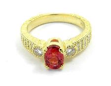 Rubellite Tourmaline Ring With Diamonds Set In 14K Yellow Gold