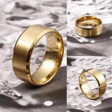 Elegant Titanium Gold Plated 8MM Men Women  Brushed Wedding Band Ring