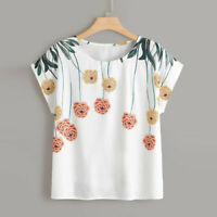 Women Ladies Plus Size Casual Tee Tops Lady Floral Summer Loose T-Shirt Blouses
