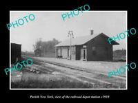 OLD 8x6 HISTORIC PHOTO OF PARISH NEW YORK THE RAILROAD DEPOT STATION c1910