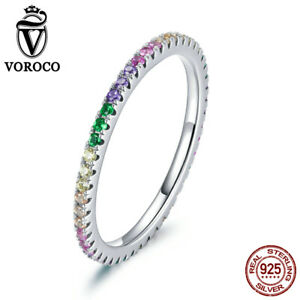 Fashion Women Girls S925 Sterling Silver Shiny Rainbow CZ Rings jewelry VOROCO