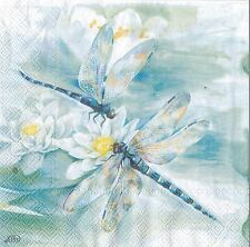 20 Paper Napkins Ideal Home Range Blue Dragonfly