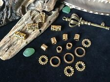 Brass Dreadlock Bead Mix Massive 17 x 5-8mm Hole Ethnic Tribal Beads and Rings