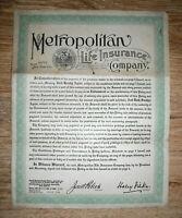 1925 Life insurance policy, Metropolitan Life Insurance Co. New York