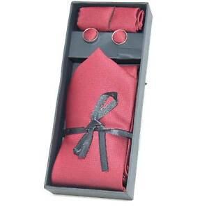 Set coordinato uomo cravatte con gemelli e pochette rosso elegante cerimonia