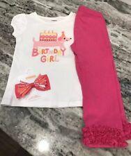 EUC GYMBOREE Birthday Girl Dog Shirt & Leggings Outfit Hair Barrett Size 2T