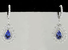 Estate 6.00Ct Natural Tanzanite and Diamond 14K Solid White Gold Earrings
