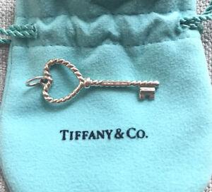 Tiffany And Co Silver Medium Twisted Heart Key Charm/ Pendant