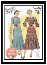 1940/50's Economy Dress Pattern - Reproduction Sewing Pattern