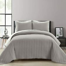 Lush Decor Soft Stripe All Season 2 Piece Quilt/Coverlet Set, Full Queen, Light