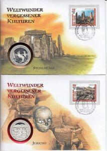 Sammlung 7 Numisbriefe  -  Weltwunder vergessener Kulturen  -  Silber - Tschad