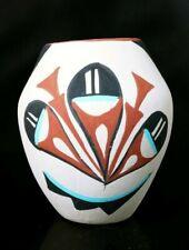 Native American Jemez Pueblo Handmade Mini Pottery  Pot/Jar Signed By MC Jemez
