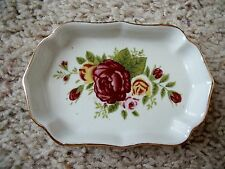 Scalloped Edge Oval Pink & Yellow Roses Design China Trinket Dish w/ Gold Trim