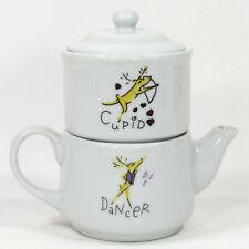 Pottery Barn REINDEER - DANCER CUPID 6oz Creamer & Sugar Coffee Tower Set Mint