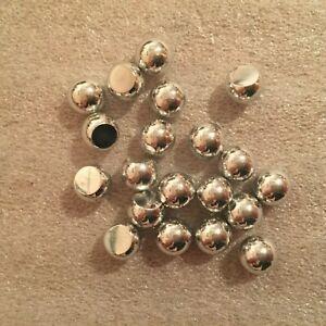JP43 Preciosa 8mm silver tone glass 3/4 balls, no hole (50)