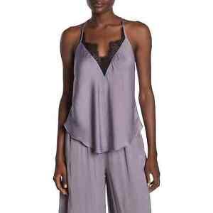 Free People Starlight Lace Trim Satin Camisole Racerback Size M Silver Mauve