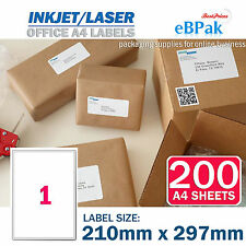 200 x 1 up 210 x 297mm Peel Paste Label A4 Office Mailing Address label - 1UP