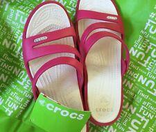 New Women's Crocs Patricia Sandal Mini Wedge Slide Shoes SZ 8 Raspberry