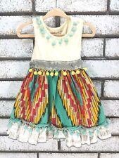 Mustard Pie Girls Dress Size 12 months Pom Poms Ruffle Hem Tie Waist