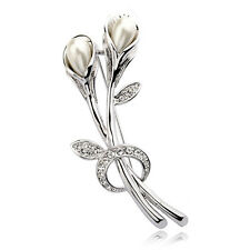 ITALINA 18K WHITE GOLD PLATED GENUINE AUSTRIAN CRYSTAL & PEARL FLOWER  BROOCH