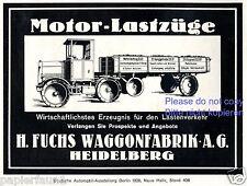 LKW Fuchs Heidelberg Reklame von 1926 Waggonfabrik Motor Lastzug Werbung