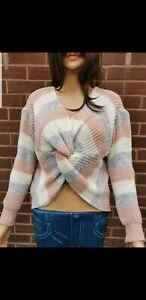 Reversible Celeb Knot Front Twist Jumper Sweater PINK Knitted Grey BN 8-14 UK
