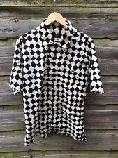 JIM THOMPSON Black And White Diamond Harlequin Large Chest Short Sleeve Shirt