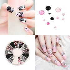 Acrylic Nail Art Decoration 4 Sizes Black White Pink Glitter Rhinestones LC