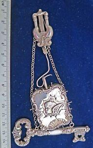 RARE 1902 Rococo Silver Pin Cushion CHATELAINE Key Needle Case Salaman