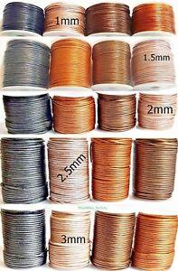 Lederband 1-3 mm Ø Rund Lederschnur Länge/Farbe/Durchmesser wählbar TOP Qualität