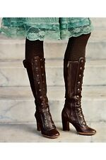 FRYE Adrienne Button Spats Boot Tall Brown Leather Size 9 $598 9M