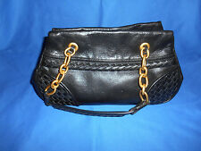 BOTTEGA VENETA Purse Handbag BLACK LEATHER GOLD CHAIN ORIGINAL CLOTH BAG ITALY