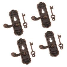 4 Pairs 1//12 Dollhouse Miniature Metal Right Door Knob with Keys DIY Accs