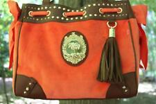 NWT XL JUICY COUTURE PALM TREE VELOUR Leather DAYDREAMER Purse BAG Orange $198