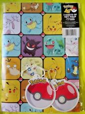 POKEMON - 2 SHEETS of GIFT WRAPPING PAPER & 2 TAGS birthday party wrap toys