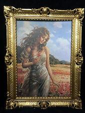 Gemälde Frau Frauenakt  Mohnfeld Aktgemälde 90x70 Barock Rahmen Gold Wandbild D8