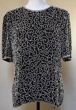 Vintage Beaded Top Black With White Beading  Size L Laurence Kazar NY