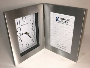 Howard Miller Silver Picture Frame Battery Clock-Model 645-677 Holds 4x6 Photo