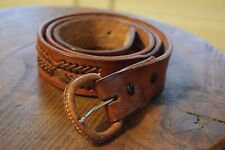 Brown Tooled Braided Leather Belt Men's Size 40 Western Country