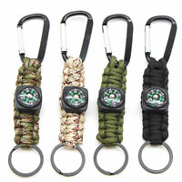 KQ_ 3 in 1 Multifunction Camping Mini Carabiner w/Keychain Compass Thermometer K