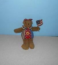 "8"" Russ Glory Bears Girl American Flag Bean Tush Shelf Sitting Plush Display"