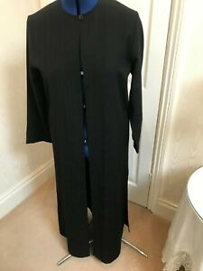 Nitya- Black self stripe 3 piece trousers - long coat & silk scarf size 14/16
