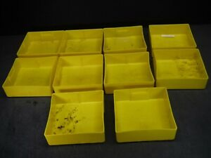 "USED LOT 10 LYON 6"" x 6"" x 2"" Yellow Plastic Box Bin Drawer 662 B"
